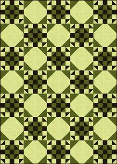 Wishing Ring Quilt Block & Quilt Pattern  (lime/black?  lime/eggplant?)