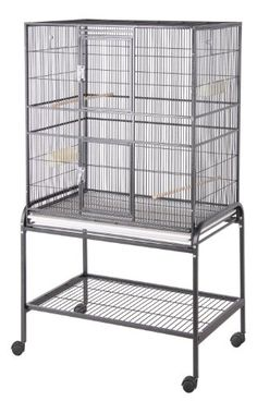 """$174.99 High quality HQ bird cage appropriate for all small to medium sized parrots.     Cage measures 32"""" wide x 21"""" deep by 60"""" overall height. Inside cage height is 35""""; Cage bar spacing is 1/2"""", and the bars are 3mm thick. This is a great economy-priced cage that gives canaries, finches and parakeets lots of room to fly. Also appropriate for Cockatiels, Lovebirds, Parrotlets, and small Conures. ..."""