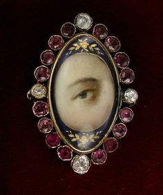 Georgian Painted Lovers Eye Gold Brooch With Diamonds Garnets C Victorian Jewelry, Antique Jewelry, Vintage Jewelry, Eye Jewelry, Garnet Jewelry, Lovers Eyes, Miniature Portraits, Mourning Jewelry, Gold Brooches