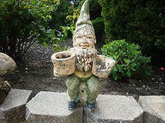 VINTAGE CEMENT CONCRETE GARDEN GNOME STATUE PLANTER.  Love these gnomes for the garden.