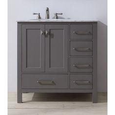 Stufurhome 36 inch Malibu Grey Single Sink Bathroom Vanity with Mirror | Overstock.com Shopping - The Best Deals on Bathroom Vanities