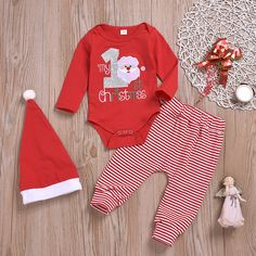 Baby MY CHRISTMAS Embroidery Bodysuit and Striped Pants with Hat Set - My favorite children's fashion list Baby Outfits Newborn, Baby Boy Outfits, Kids Outfits, Summer Outfits, Baby Boy Christmas Outfit, 1st Christmas, Romper Outfit, Christmas Embroidery, Matching Family Outfits