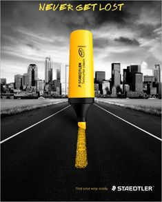 """Staedtler: Highlighter Pen """"Never get lost."""" by BDPQBD via Noupe Creative Advertising, Ads Creative, Creative Posters, Advertising Poster, Advertising Design, Marketing And Advertising, Marketing Quotes, Advertising Campaign, Creative Design"""