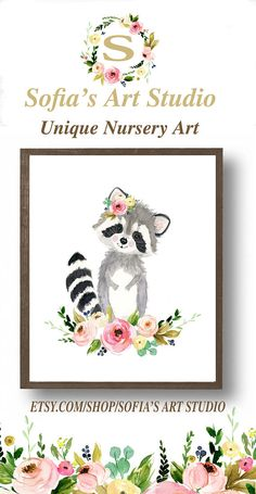 Baby raccoon raccoon painting woodland nursery nursery art