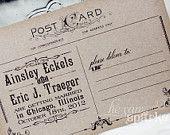 Vintage Postcard Save The Date - DIY - Printable. $20.00, via Etsy.