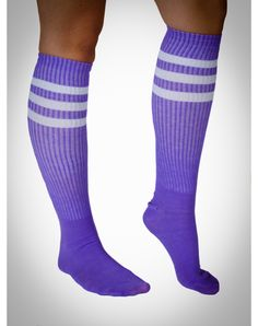Neon Purple with White Stripe Knee High Socks
