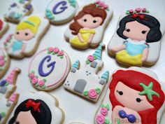 """I like these princess cookies because they are all my favorite princesses as… Cookies For Kids, Fancy Cookies, Iced Cookies, Cute Cookies, Yummy Cookies, Cupcake Cookies, Sugar Cookies, Cupcake Toppers, Cookie Icing"