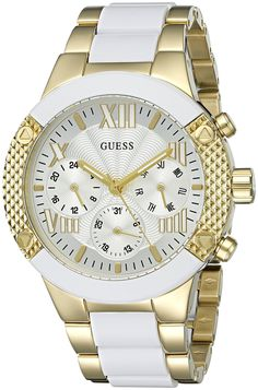GUESS Women's U0770L1 Trendy White and Gold-Tone Chrono-Look >>> You can get additional details at the image link.