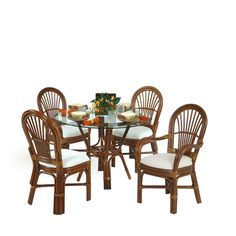 Islamorada Rattan 5 Piece Dining Set 2 Arm and 2 Side Chairs Pecan Glaze - Leaders Casual Furniture Indoor Wicker Furniture, Dining Furniture, Outdoor Furniture Sets, Wicker Dining Set, Dining Chairs, Dining Rooms, Oriental Furniture, 5 Piece Dining Set, Side Chairs