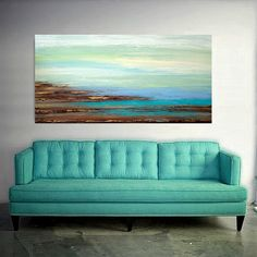 This is a one of a kind painting by acrylic artist Ora Birenbaum.    I used soft shades of sea foam, minty green, adn spa blue with touches of