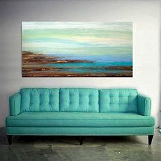 Resumen playa acrílico pintura abstracta grande por OraBirenbaumArt
