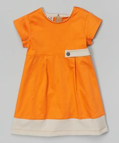 Look at this Anna Bouche Orange and Beige A-Line Dress - Girls on #zulily today!