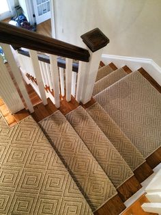The most common and decorative way to carpet your stairs is with a runner. Runners allow you to decoratively expose the hard wood on your floor while also practically covering the traffic areas.