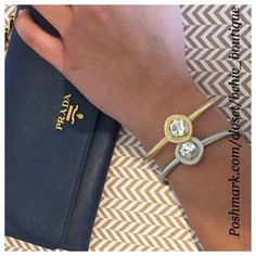 Gold Crystal Cable Cuff Stunning gold crystal cable cuff by T&J Designs. Can be worn alone or with the silver cuff also available in my closet   Size is adjustable  18K gold plated base metals  Glass crystals Nickel and lead free T&J Designs Jewelry Bracelets