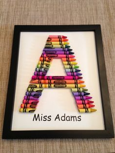 Items similar to Handmade Crayon Letter on Etsy - My CMS Crayon Monogram, Crayon Letter, Crayon Art, Letter Art, Crayon Crafts, Sharpie Crafts, Great Teacher Gifts, Teacher Appreciation Gifts, Cute Gifts