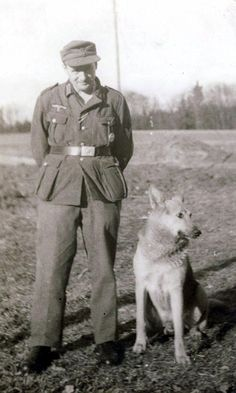 German soldier with dog.