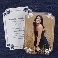 "Fancy Flourishes Graduation Announcement Fancy flourishes are shown in the corners of this two-sided photo announcement.  Dimensions: 5 1/8"" x 7 1/4"" Card• Price Includes: Blank, single bright white envelopes • Production Time: 3 Working Days • Photo(s) will be printed as submitted"