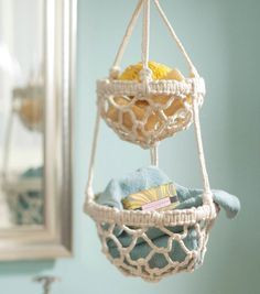 Macrame Hanging Basket Full-sized pattern. Try to convert to miniature