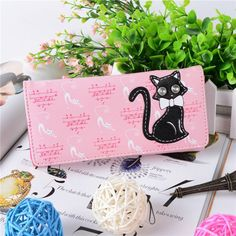 women's luxury brand wallets female purses PU Leather Solid HASP coin pocket carton cat wallet purse portfolio cuzdan Hot sale