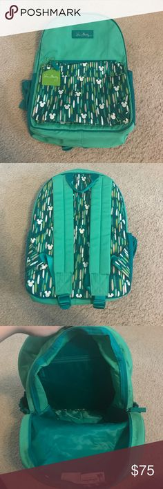 """Disney Vera Bradley Backpack Mickey Showers backpack. Brand new with tags never used. It has 2 zipper pockets on the front of the bag and 1 on the inside in the big main zipper. The bag size is 15 1/2"""" H by 11"""" W by 6"""" D Vera Bradley Bags Backpacks"""