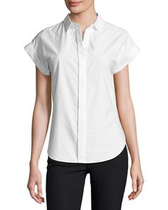 Ara Short-Sleeve Poplin Tie-Back Blouse, White by Rag