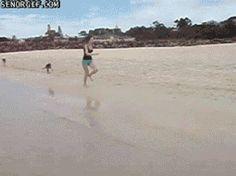 hopping along the beach...
