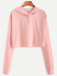 Shoptagr | Pink Dropped Shoulder Seam Crop Hooded Sweatshirt by Romwe #style #fashion #trend #design #onlineshop #shoptagr
