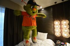 Photo of the Day: Orbit is REALLY enjoying his Japanese hotel experience