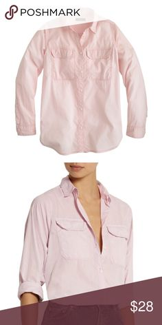 """J. Crew Lightweight Camp Shirt Condition: Good condition, only worn once and washed/hang dried once. Material: Cotton. Description: Color is """"Misty Orchid"""". Described on J. Crew site as: It's made from a lightweight, super-drapey cotton poplin, so it's incredibly soft and comfortable—kind of like that vintage shirt you've worn to threads.  Long roll-up sleeves. Functional buttons at cuffs. Machine wash. Photo Cred: 1st pic is Lyst, 2nd pic is Net-a-Porter.  🚫No Trades🚫 J. Crew Tops Button…"""