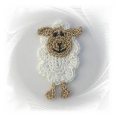 gehäkeltes Schaf , Häkelapplikation, Applikation Schaf, crochet applique sheep, Lämmchen, Schäfchen Mehr