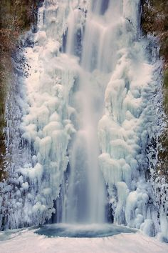 Lower Multnomah Falls during a recent cold spell - 2009-2010 near Portland Oregon USA & the Columbia River Gorge.