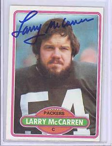 1980 TOPPS LARRY MCCARREN GREEN BAY PACKERS SIGNED AUTOGRAPH CARD COA
