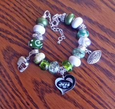 New York Jets European Charm Bracelet - NFL on Etsy, $24.99