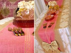Perhaps I could do something like this using burlap, linen and a silk bow??  A Rustic Wedding with Fabric.com: Two-Tone Burlap Table Runner | Sew4Home