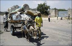 People transport goods by donkey cart close to Mogadishu, Somalia