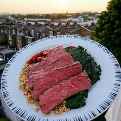 From @grillinfools Check out that view! Both of them Pic and steak courtesy of @ryancarter1986 -  Long Day Still Knocked This Out  Sirloin Pave Steak  Spinach Butter Puree  Cauliflower CousCous  Heirloom Tomatoes  #keto #ketomeals #lchf #lowcarb #highfat #atkins #bestdietever #whatdiet #fatisfuel #ketogenic #kcko #eatfatloseweight #lowcarbhighfat #ketosis #ketocooking #lowcarbcooking #lowcarbliving #ketoliving #ketofoods #xxketo #ketodiet #ketodinner #weightloss #lifestylechange…