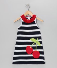 Take a look at this Navy Cherry Dress - Toddler & Girls by Dolce Liya on #zulily today!