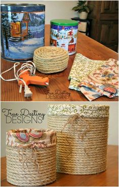 Stylish Lined Baskets From Popcorn Tins # easy DIY Gifts 20 Crazy Creative Popcorn Tin Repurposing Projects Rope Crafts, Recycled Crafts, Twine Crafts, Recycled Decor, Wooden Crafts, Recycled Materials, Wooden Toys, Diy Simple, Easy Diy