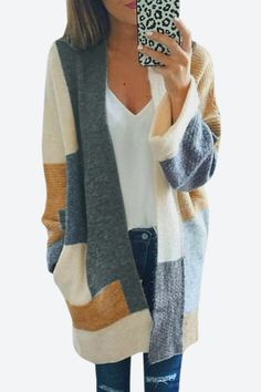 Casual Knitted Color Block Design Cardigans - US$29.95 -YOINS