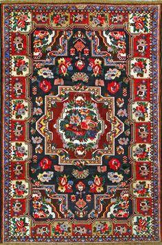 """Bakhtiari Persian Rug, Buy Handmade Bakhtiari Persian Rug 5' 7"""" x 8' 3"""", Authentic Persian Rug"""