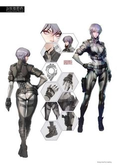 Motoko Kusanagi - Ghost in the Shell Female Character Design, Character Design Inspiration, Character Art, Character Sheet, Masamune Shirow, Motoko Kusanagi, Sci Fi Characters, Fictional Characters, Bd Comics