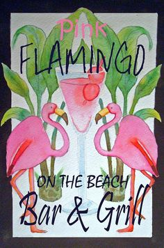 Pink Flamingos On The Beach Bar And Grill Painting