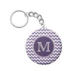 Purple and White Chevron Zigzag Monogram Wedding Key Chain