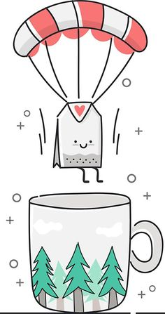 'tea time' Sticker by Irina Strelnikova Realistic Pencil Drawings, Art Drawings For Kids, Art Drawings Sketches, Easy Drawings, Drawing Ideas, Kawaii Doodles, Cute Doodles, Christmas Drawing, Kawaii Drawings