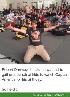 RDJ wanted to watch Captain America with kids