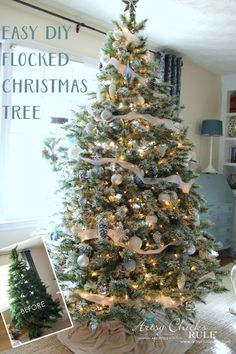 DIY Flocked Tree, Wreaths - Thrifty Holiday Decor!  - Before and After - #artsychicksrule #flockedtree