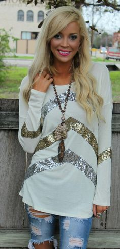 Ivory Sequin Craze Tunic - The Lace Cactus