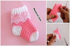 DANTELLİ PEMBİŞ BEBE ÇORAP ÖRME VİDEOLU | Nazarca.com Crochet Dinosaur Patterns, Christmas Stockings, Holiday Decor, Needlepoint Christmas Stockings, Christmas Leggings, Stockings