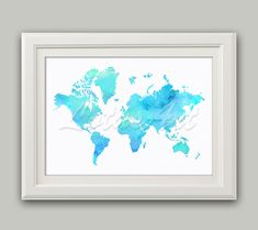 Items similar to World Map Print Turquoise Watercolor Map Wall Art Travel Map World Map Print Living Room Wall Art Turquoise Map Travel Map Gifts Art Poster on Etsy Map Wall Art, Wall Art Prints, Watercolor Map, Watercolor Ideas, Disney Phone Wallpaper, Plant Wall, Wall Art Quotes, Living Room Art, Cool Walls