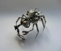 Justin Gershenson-Gates solders together these beautiful mechanical creatures. Many reference terrestrial critters and are even anatomically correct.